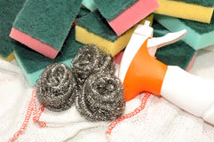 Sponge And Metal Cleaning Scourers Royalty Free Stock Image