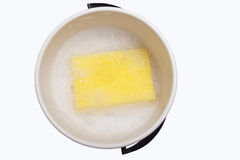 Sponge in pail. Sponge in pail on white royalty free stock images