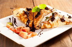 Sponge Pancakes with cheese, fruit, chocolate and mint Stock Photography