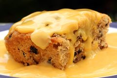 Sponge pudding. A  'spotted dick' sponge pudding with custard layered on the top Stock Photo