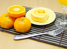 Sponge roll cake with orange Royalty Free Stock Photo