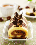 Sponge roll with chocolate Royalty Free Stock Image