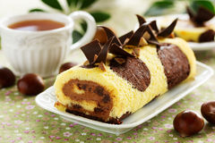 Sponge roll with chocolate Stock Image