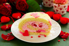 Sponge roll with cream rose Royalty Free Stock Image