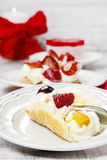 Sponge roll with fresh fruits Stock Photo