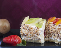 Sponge roll with fruits Stock Images