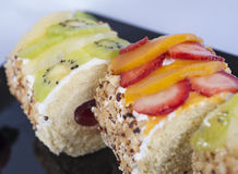Sponge roll with fruits Royalty Free Stock Image