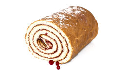 Sponge roll with jam. Sponge cake roll with berry jam on white background Stock Photos
