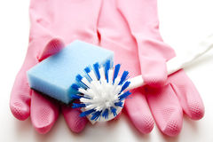 Sponge and rubber glove. Brush with sponge and rubber glove stock photography