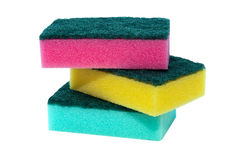 Sponge Scourer Pads. Sponge scouring pads on an isolated white background with a clipping path Royalty Free Stock Images