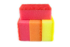 Sponge scouring pads on an isolated white background Stock Images