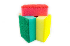 Sponge scouring pads on an isolated white background Royalty Free Stock Photography
