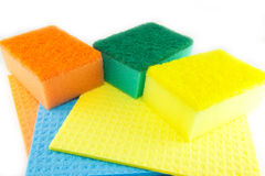 Sponge scouring pads on an isolated white background Royalty Free Stock Image