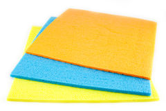 Sponge scouring pads on an isolated white background Royalty Free Stock Photos