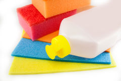 Sponge scouring pads on an isolated white background Stock Photos