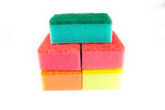 Sponge scouring pads on an isolated white background Royalty Free Stock Photo