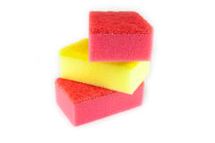 Sponge scouring pads on an isolated white background Stock Image
