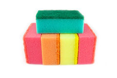 Sponge scouring pads on an  white background Stock Photo