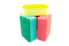 Sponge scouring pads on an  white background Royalty Free Stock Images