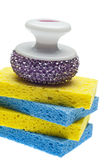 Sponge and Scrub Brush Cleaning Border Stock Photos