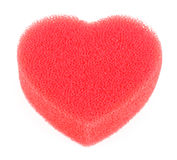 Sponge for shower in form of heart isolated Royalty Free Stock Image