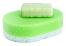 Sponge and soap Royalty Free Stock Images