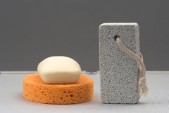 Sponge,soap and pumice Royalty Free Stock Photos