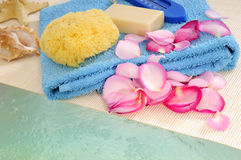 Sponge, soap and rose petals Stock Images