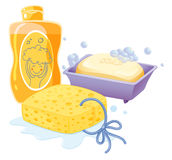 A sponge, a soap and a shampoo Stock Image