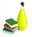 Sponge and spray. Tre sponge and yellow spray Stock Photography