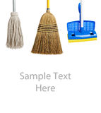 Sponge and string mop and broom on white Royalty Free Stock Image