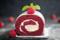 Sponge Swiss roll cake  with fresh raspberry and sugar icing on dark background Stock Photos