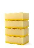 Sponge. Synthetic porous yellow sponge for washing kitchen utensils stock photo