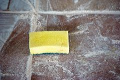Sponge on tile royalty free stock photos