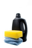 Sponge and towel with car wash foam stock image