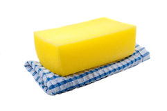 Sponge and towel Royalty Free Stock Image