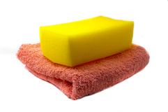 Sponge and towel Royalty Free Stock Photos