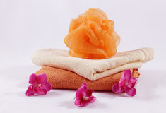 Sponge towels and flowers Royalty Free Stock Photography