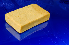 Sponge for washing over the roof of the blue car. Handheld yellow sponge using for car washing and water droplet on the surface of blue car Stock Photo
