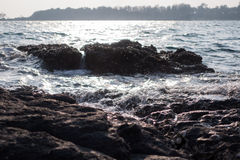 Sponge water waves on Rocks Beach, Beautiful tropical beach,Crys Royalty Free Stock Image
