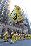 Spongebob en el desfile de Macy Imágenes de archivo libres de regalías