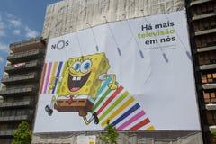 SpongeBob. LISBON, PORTUGAL - MAY 26, 2014: SpongeBob SquarePants advertisement in Lisbon. SpongeBob  is an American animated television series created by marine Stock Photos