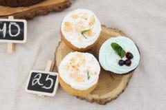 Spongecake or muffin with cream. Three of spongecake or muffin with cream Stock Photo