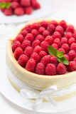 Spongecake with raspberries Stock Photo