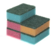 Sponges. Dishwashing sponges with green scrub pads Stock Image