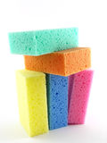Sponges. Five arranged sponges on the light background Royalty Free Stock Image