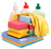 Sponges, bottles of chemistry and gloves. For the guidance of purity Stock Photos