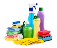 Sponges, bottles of chemistry, gloves for the guidance of purity Stock Image
