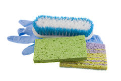 Sponges brush disposable glove Stock Photos