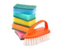 Sponges and brushes for cleaning Royalty Free Stock Photo